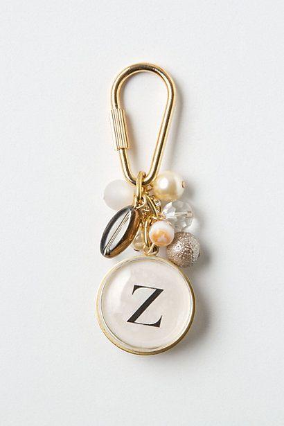 Anthro monogram keychain | hmm so easy to make, climbing clip, beads & monogram charm...super cute