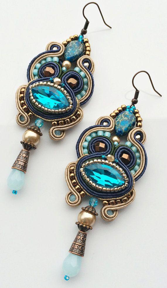 les boucles d'oreilles de soutache, soutache dangles en saphir et brun, bleu aqua, pendientes soutache, soutache orecchini, boucles d'oreilles on Etsy, 28,78€