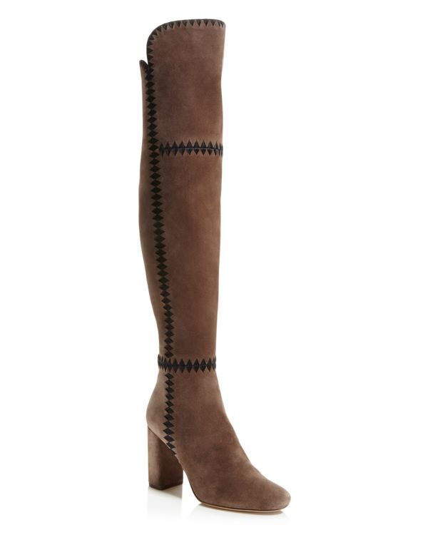 Piece together your so-now '70s-inspired look with Sigerson Morrison's luxe suede over-the-knee boots, meticulously detailed with diamond stitching. Pair it with a snap-front mini skirt and a breezy t