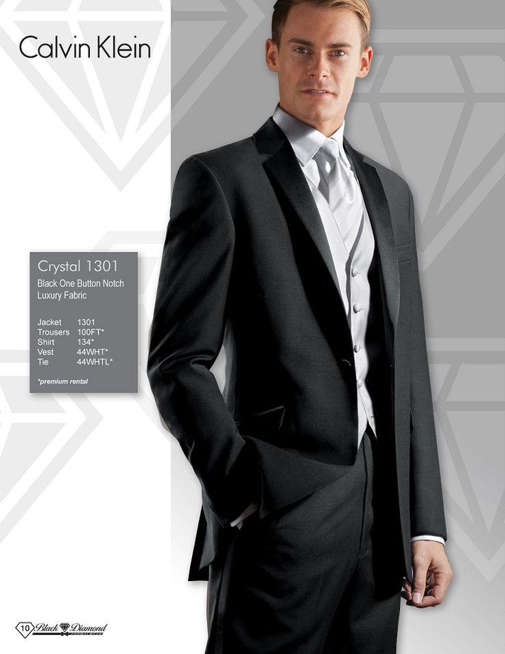 Calvin Klein Crystal Black One Button Notch Luxury Fabric