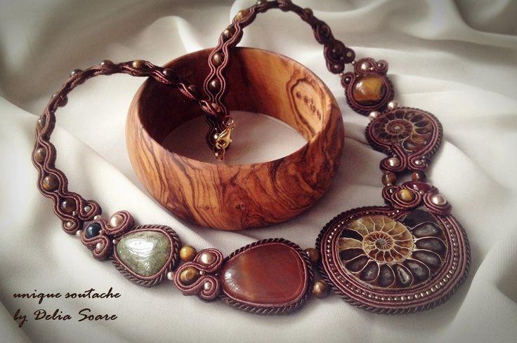 Amonite soutache necklace, with jade, carnelian and tiger-eye semprecious stones. Design by Delia Soare, Romania