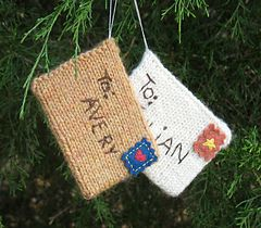 Knitted envelopes by Katie Startzman of Duo Fiberworks. A free pattern posted by the generous Katie is over on Ravelry. The back flap closure is too clever by half as is the felt stamp! Stuff with address labels for a departing friend…