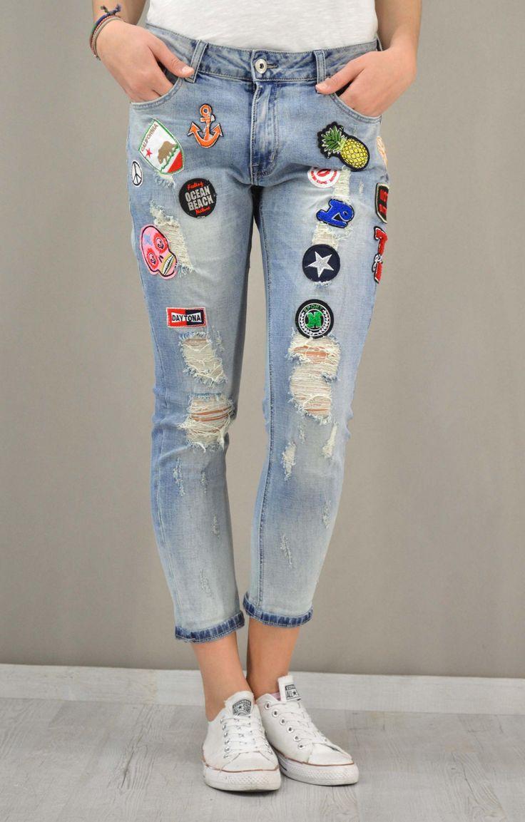 Γυναικείο τζίν boyfriend με patch | Παντελόνια jeans - Jeans &