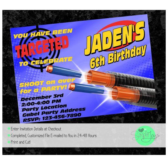 Nerf Gun Birthday Party Invitation  Printable by SimpleJoysStudio