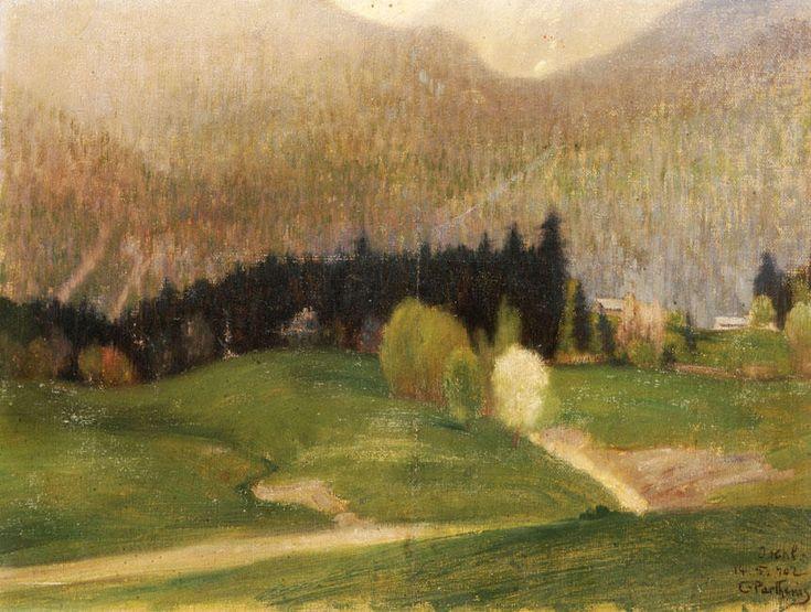 kaufen Gemälde'landschaft mit `fir` bäume' von Konstantinos Parthenis - Kaufen Sie eine handgemalte Ölreproduktion , Kunstreproduktion, Ölgemäldereproduktionen, Kunst auf Leinwand, Kunstwerksreproduktion, Leinwand Ölgemälde Reproduktion Kunstwerk