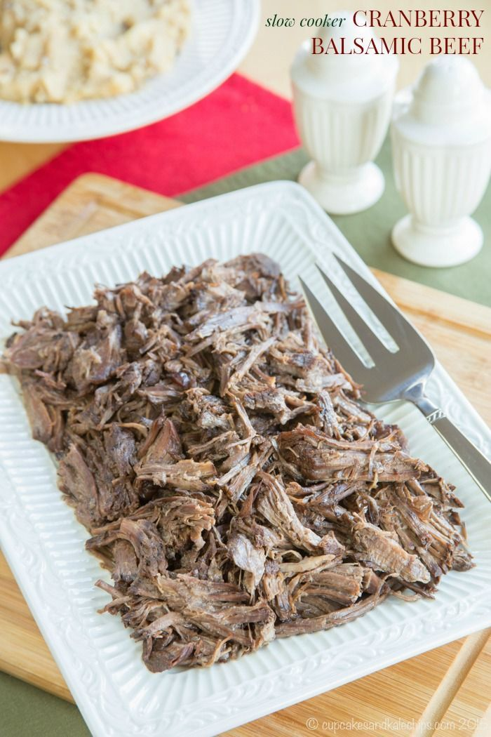 Slow Cooker Cranberry Balsamic Beef - just four ingredients in this easy slow cooker recipe for a tender, fall apart beef roast. #SundaySupper with #GalloFamily #ad | cupcakesandkalechips.com | gluten free: