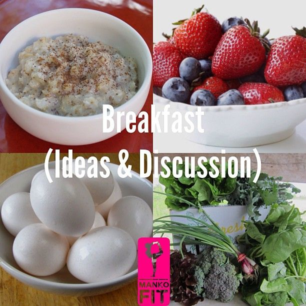 COMPLEX CARBS: will help be fuller for longer: Whole wheat toast Oatmeal (cook it in water). Wheat germ Whole grain cereal (choose almond milk or skim milk-guys stay away from soy milk as it elevates estrogen levels). PROTEIN FIBROUS VEGGIES: Eggs Whey Spinach Broccoli Kale LOW GLYCEMIC FRUITS: Grapefruit Any berry family: blueberries, strawberries, raspberries, cherries. GOOD FATS: Avocado Nut Butters Olive/Coconut oil Now tell me if you want to skip breakfast?