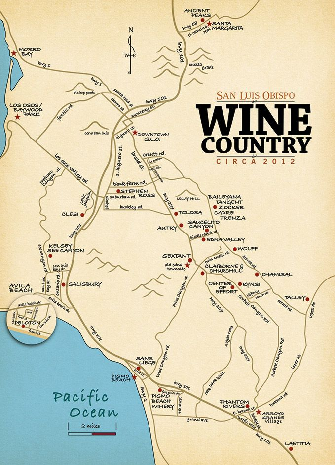 Slo wine country san luis obispo wine tasting map for California wine