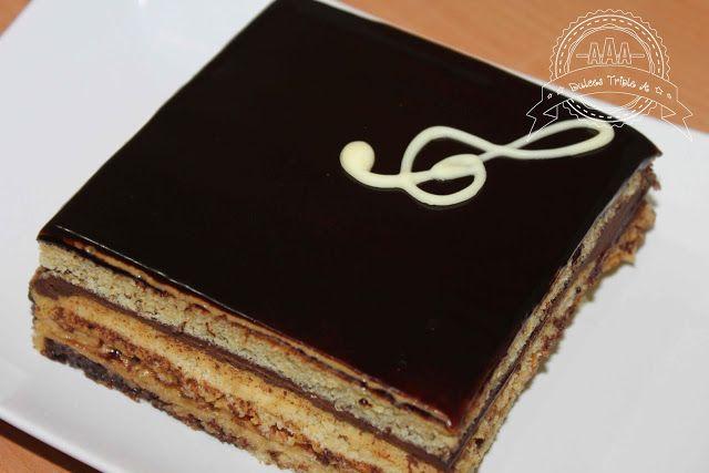 tarta ópera, tarta chocolate, bizcocho gioconda, cobertura chocolate, ganache de chocolate, crema de mantequilla, glaseado espejo
