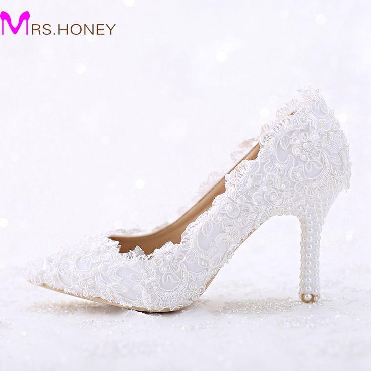 Spitz Weiße Spitze und Perle Braut Hochzeit Schuhe Frauen Dünne Ferse Bequeme Schuhe Handmade Birthday Party Pumpen //Price: $US $52.79 & FREE Shipping //     #dazzup