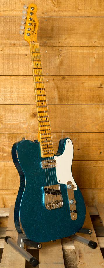 Fender Custom Shop Tele Caballo Tono Aged Blue Sparkle - Peach Guitars
