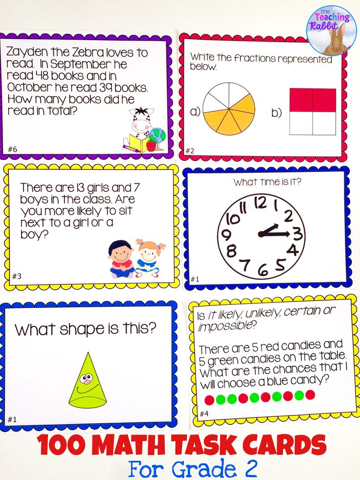 Use these math task cards for second grade in math centers, as early finisher activities, or to review! The areas covered are: Graphing, Telling Time, Probability, Fractions, 3D Shapes, Equal Expressions, Patterning, Money Word Problems, Double Digit Addition with Regrouping, and Double Digit Subtraction with Regrouping.