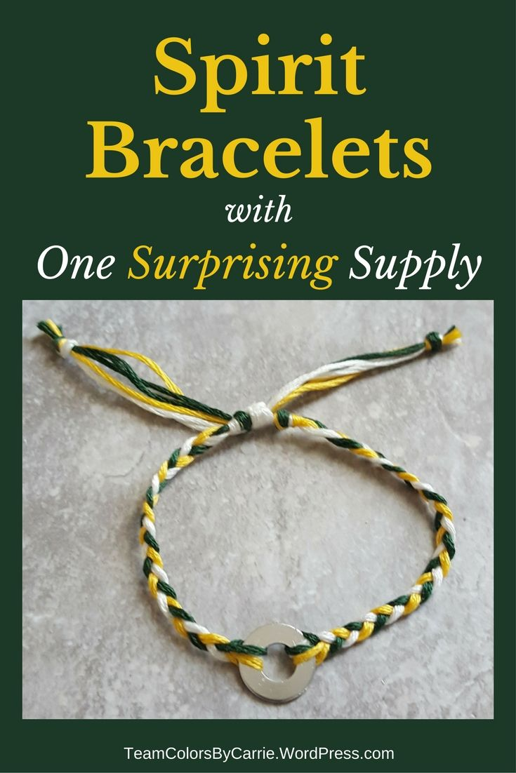 This fun DIY team spirit bracelet uses embroidery floss and a surprise ingredient from the hardware store!