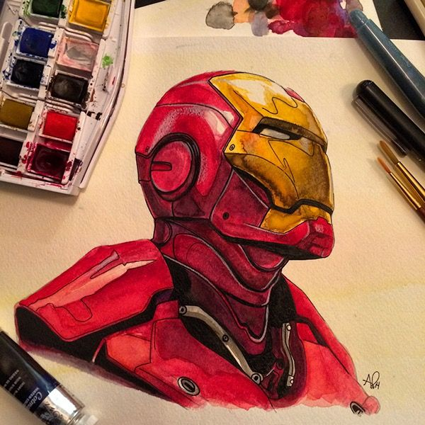 Iron Man : Awesome watercolor atwork of Iron Man by Anthony Petrie