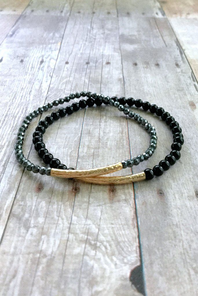 Gold Beaded Bracelet Set, Hematite and Black Onyx Jewelry, Textured Gold Tube Bead Bracelet Stack