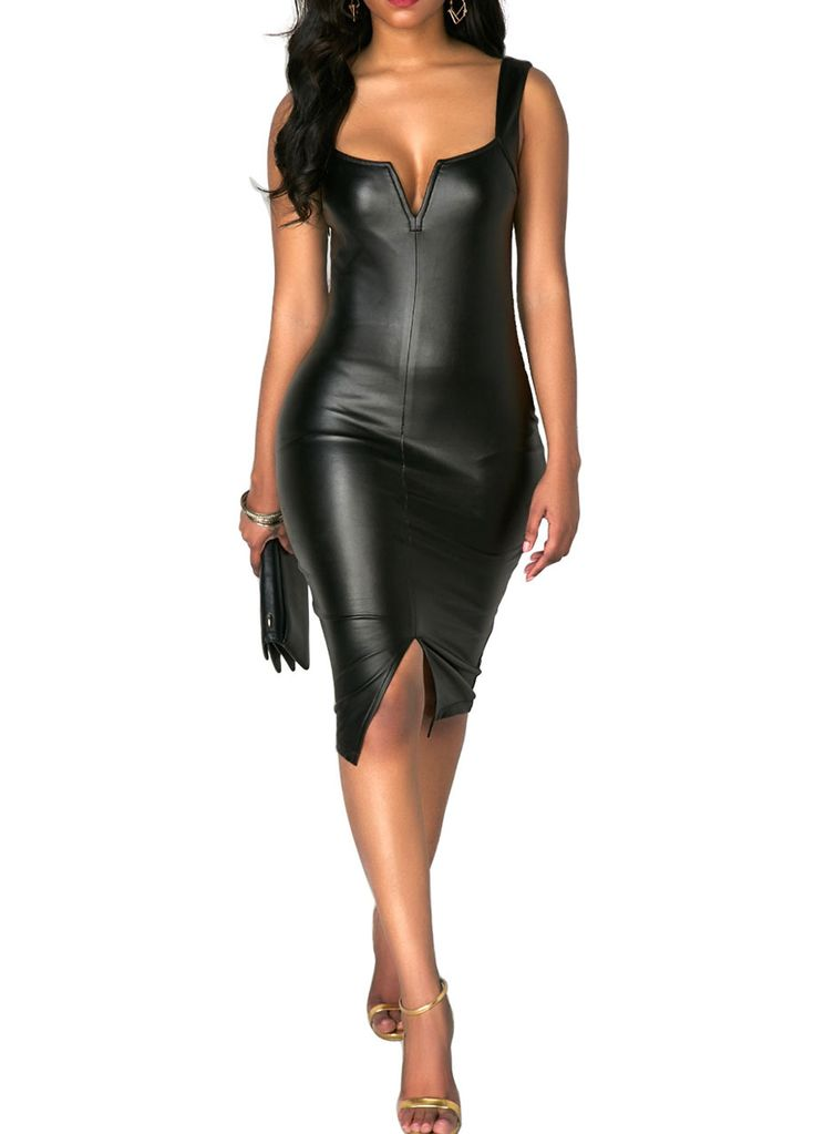 Black Slit Front Leather Bodycon Dress_Club Dress_Clubwear Clothing_Sexy Lingeire | Cheap Plus Size Lingerie At Wholesale Price | Feelovely.com