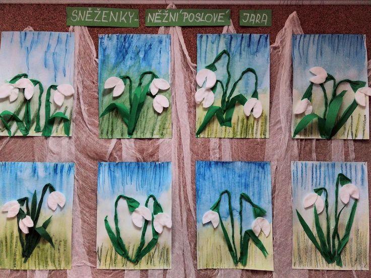 Sněženky 2017 - aquapastely, krepový papír, odličovací tampóny.