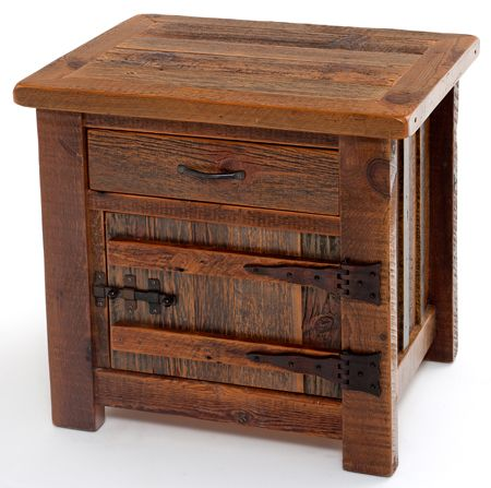 WoodLand Creek Furniture, Barn Wood End Table or Nightstand - Heritage Collection - One Drawer, One Door