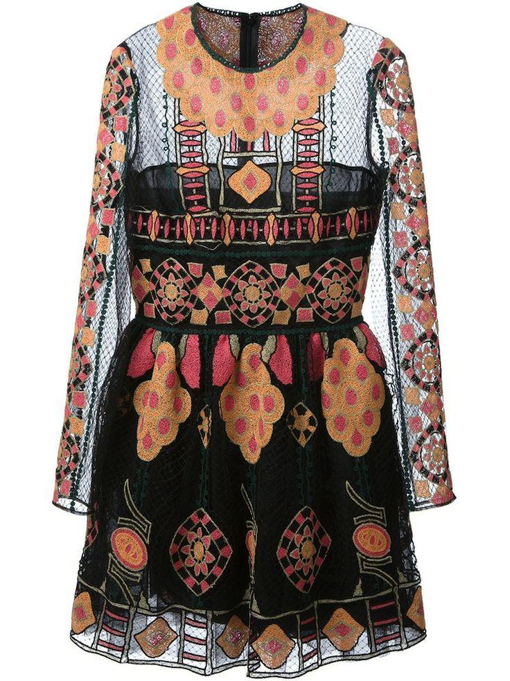 Black Semi Sheer Embroidered Dress