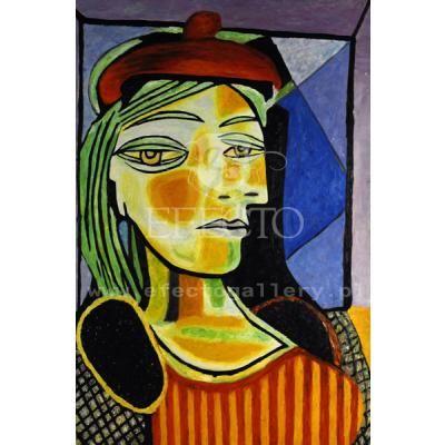Kobieta w czerwonym berecie, typowy Picasso i to co trudno tak u niego zrozumieć, pełna schiza, różne oczy, źle złożone puzzle z elementów