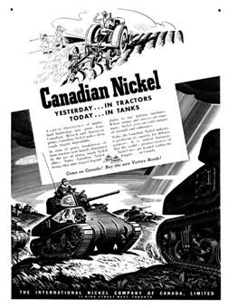 This is an image of a poster during World War II, talking about Canadian resources used in the war effort. This source is credible as it explains Canada's contribution at this time. This tells us about the changing lives of Canadians because Canada's resources were in demand from the Allies and were being used for manufacturing, therefore providing employment. This meant that Canada's economy was prospering after the hard times of the depression, and that Canada's resources were beneficial.