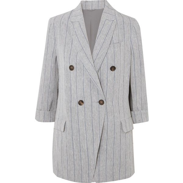 Brunello Cucinelli Double-breasted pinstriped linen blazer (€2.845) ❤ liked on Polyvore featuring outerwear, jackets, blazers, blazer, striped jacket, double-breasted blazer, tailored jacket, striped blazer and striped cami