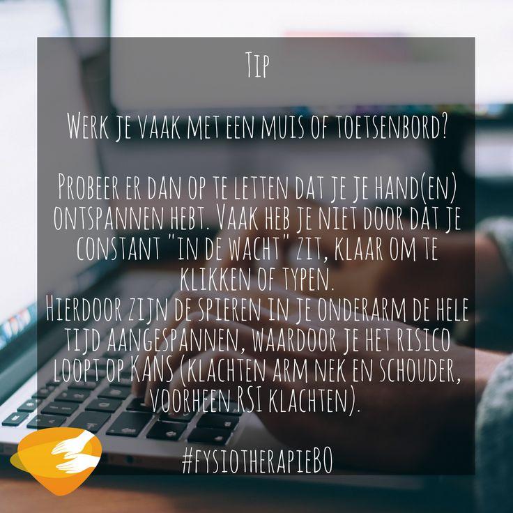 """Tip  Werk je vaak met een muis of toetsenbord?   Probeer er dan op te letten dat je je hand(en) ontspannen hebt. Vaak heb je niet door dat je constant """"in de wacht"""" zit, klaar om te klikken of typen.  Hierdoor zijn de spieren in je onderarm de hele tijd aangespannen, waardoor je het risico loopt op KANS (klachten arm nek en schouder, voorheen RSI klachten).   #fysiotherapieBO"""