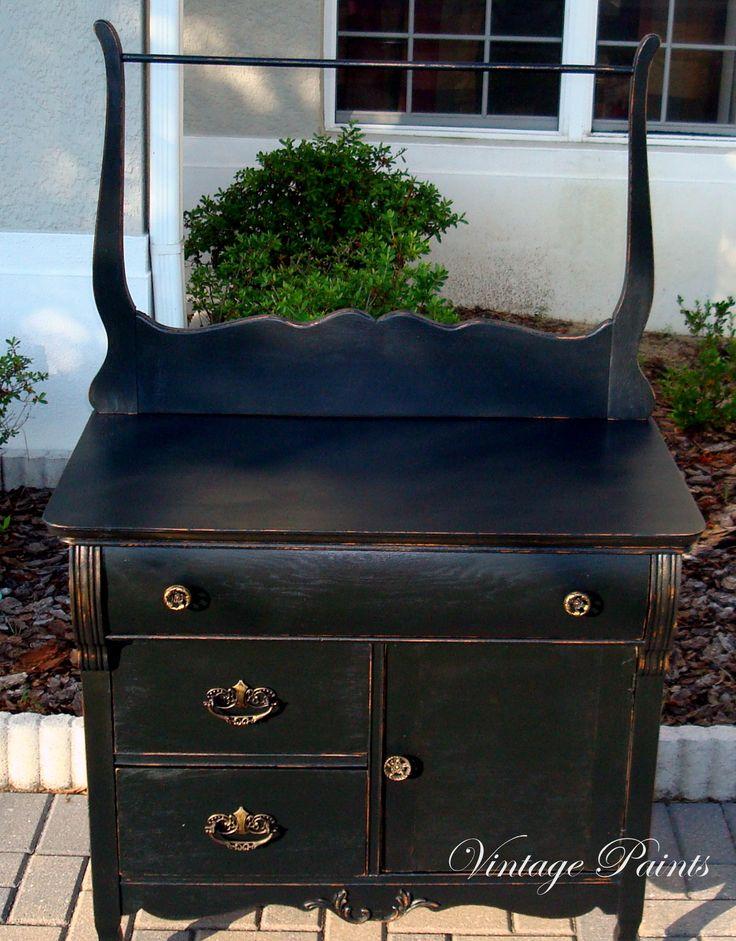 Black Satin Dry Sink  Handpainted Furniture