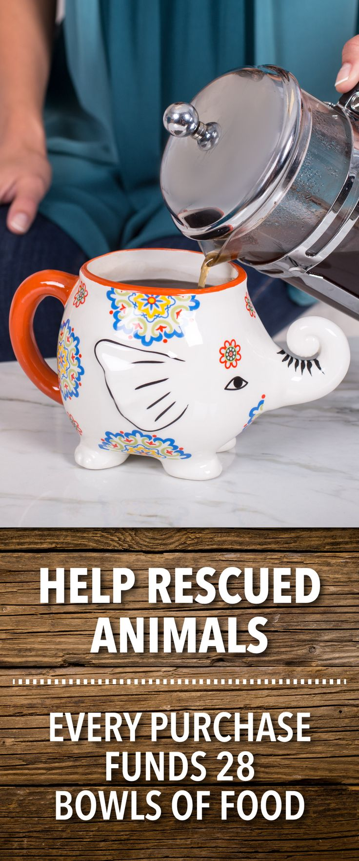 Add a dollop of delight to your day! This sunny elephant mug shimmers with a bright floral motif and a lively red handle to get your day off to a happy start.