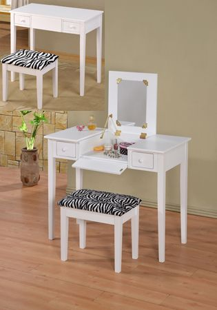 Asia Direct 546 Wh 2 Pc White Finish Wood Bedroom Make Up