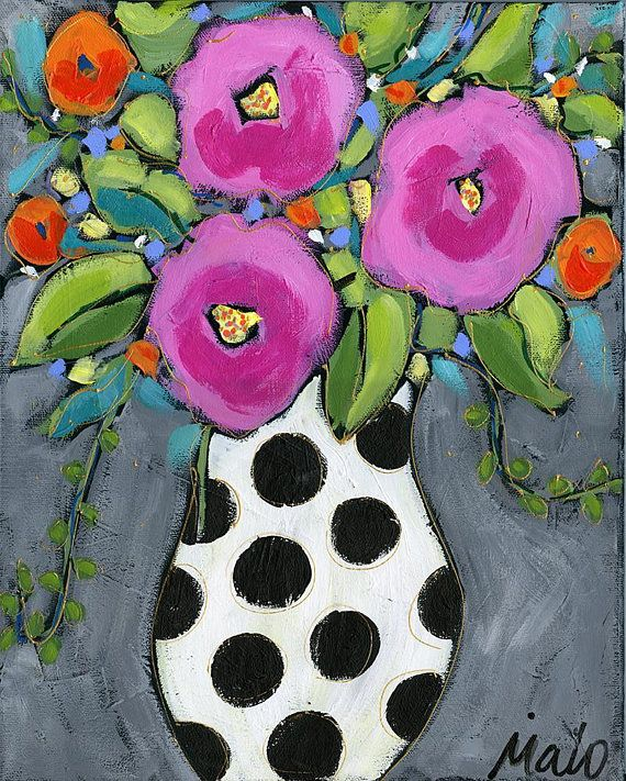 Original acrylic painting on canvas, pink flowers vase, home decor by artist Isabelle Malo