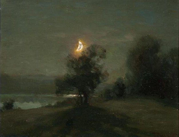 snowce: François-Charles Cachoud, Clair de lune sur le lac d'Aiguebelette