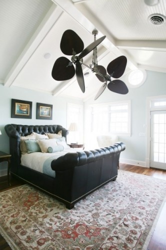 Palisade Ceiling Fan. Traditional Bedroom with modern, airy feel.  Call Lighting Etc (817) 514-8552 or visit www.light-etc.com for pricing & availability.