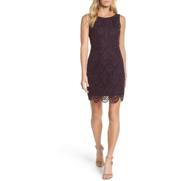Women's Pisarro Nights Embellished Mesh Sheath Dress ($148) ❤ liked on Polyvore featuring dresses, garnet, petite, white beaded dress, sheath cocktail dress, petite dresses, sequin cocktail dresses and petite cocktail dress