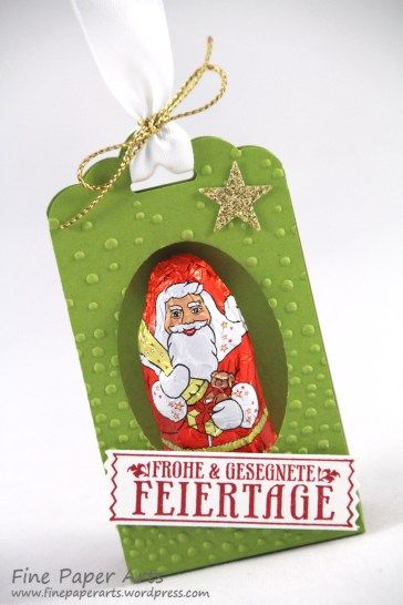 Stampin up - Verpackung für Lindt Weihnachtsmann, Verpackung Weihnachten, Christmans, Stempelset Nostalgische Weihnachten, Antique Tags, Stanze Gewellter Anhänger, scalloped tag topper punch - Fine Paper Arts