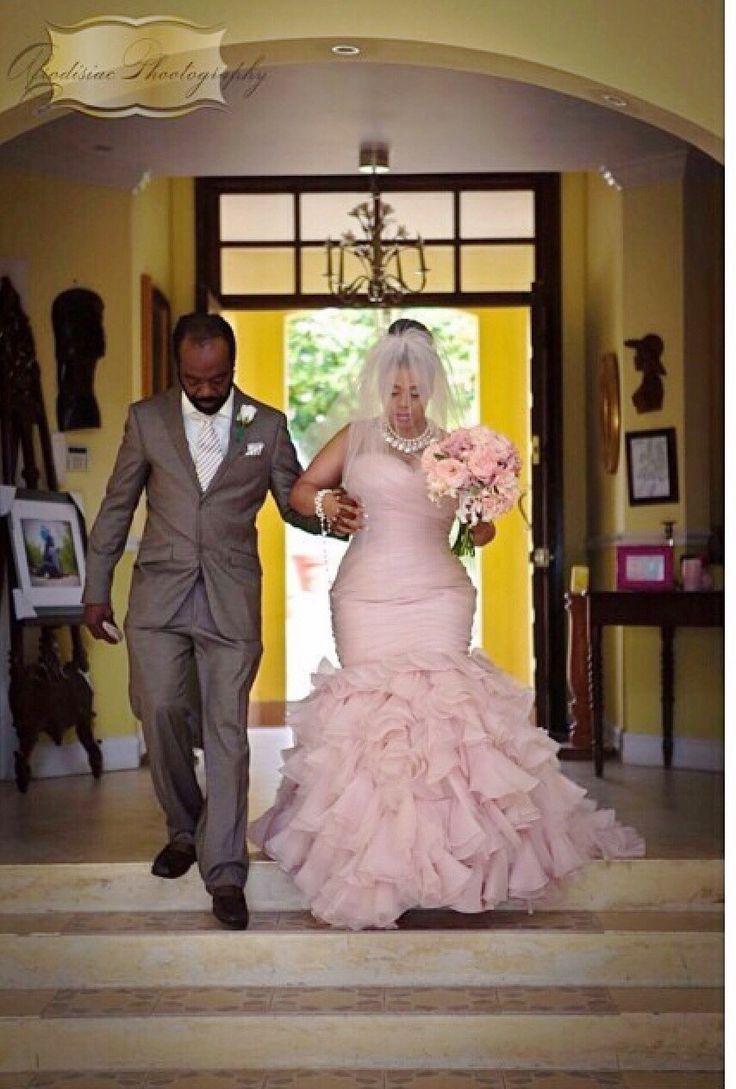 Nigerian wedding blush pink colored wedding dress