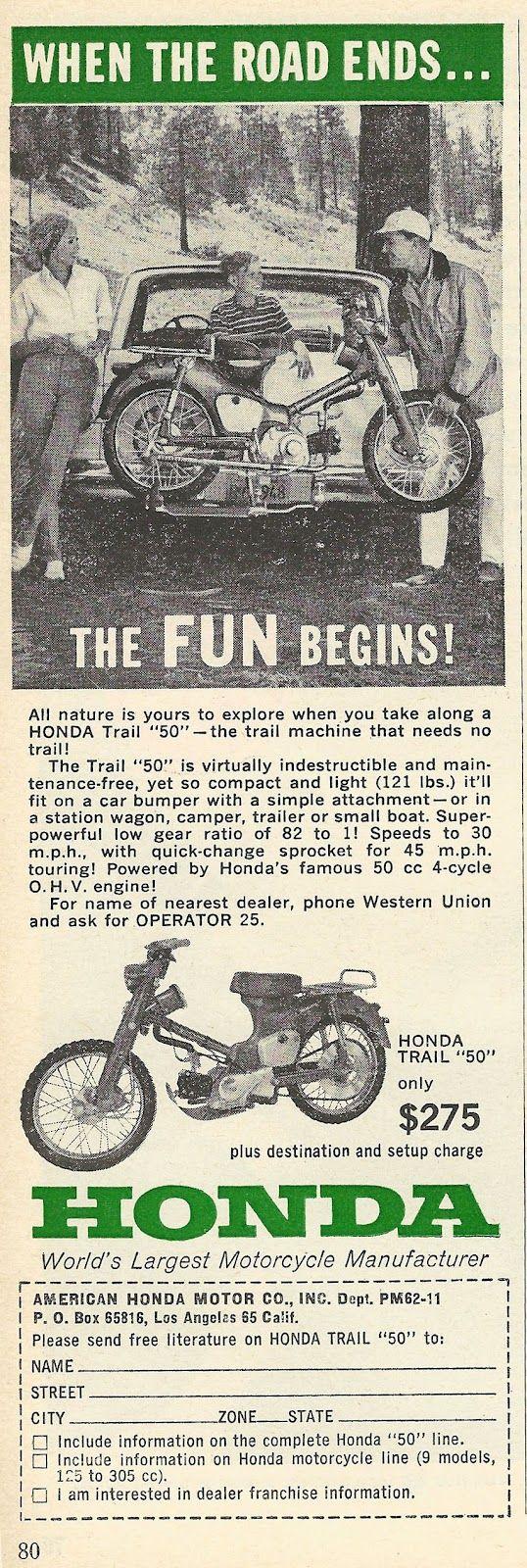 "1962 ad: Honda Trail ""50"""