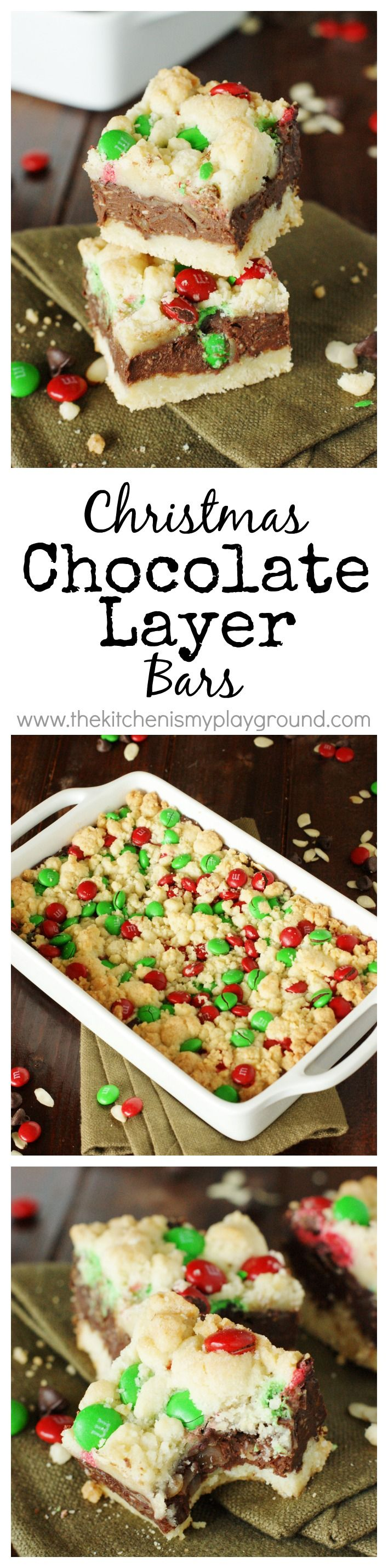 Christmas Chocolate Layer Bars ~ rich & fudgy bars adorned with festive red and green for the holidays!   www.thekitchenismyplayground.com