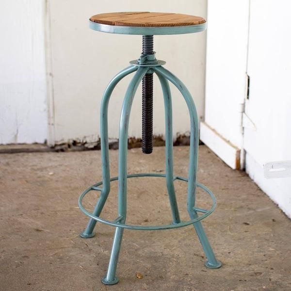 Industrial Adjustable Bar Stool with Recycled Wood ~ Blue Finish   This bar stool is a perfect fusion of rustic natural wood and iron blue finish. The adjustabl
