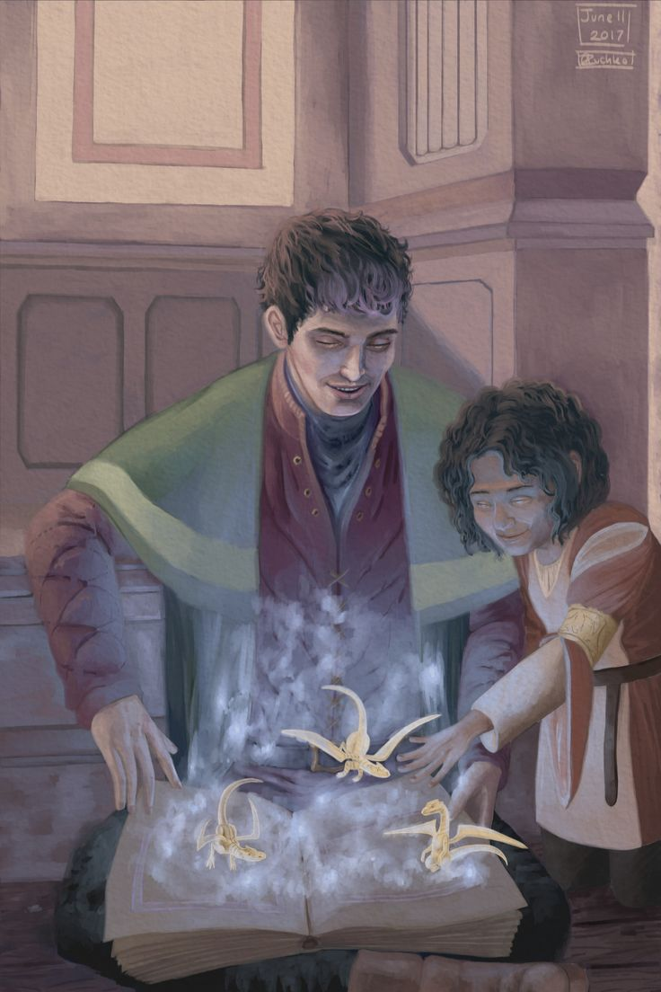 The silver chair bbc - Bbc Fan Art Merlin With His Niece And Future Queen Playing With Magic