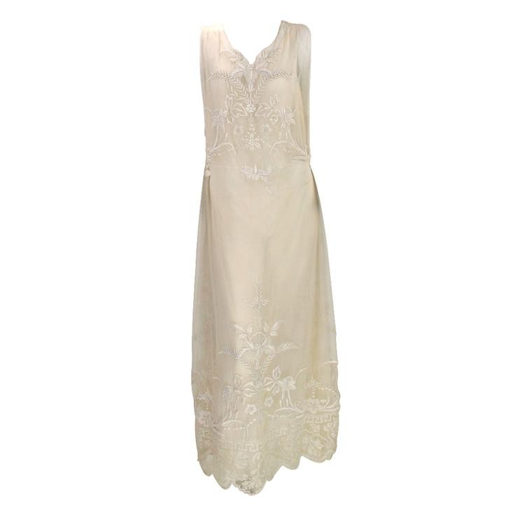 PRECIOUS 1920s embroidered tulle tea/wedding dress