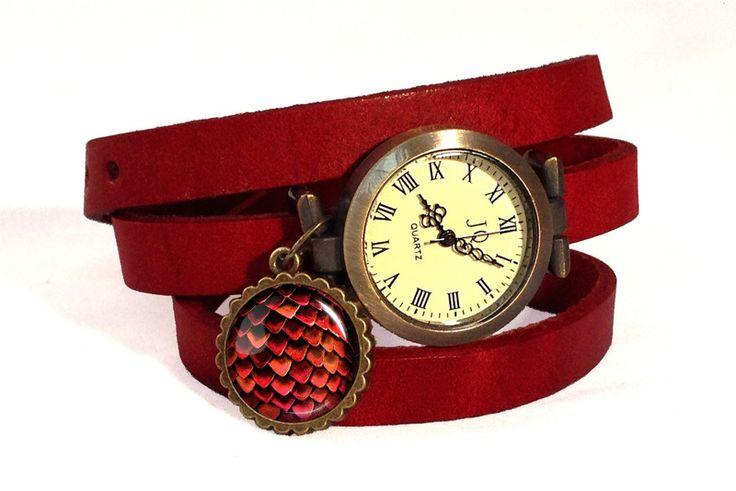 Leather watch bracelet - Dragon egg, 0484WR from EgginEgg by DaWanda.com