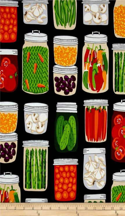 Canning Jar FABRIC for country crafts - pot holders, aprons, grocery bags.