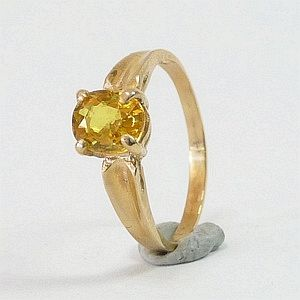 1.17 Ct. Genuine Golden Yellow Sapphire in Solid 10K Yellow Gold Ring Size:N-7             RI383