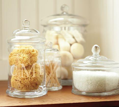 Monogram glass canister: Bathroom Storage, Bathroom Accessories, Bath Salts, Glasses Etching, Bathroom Ideas, Glasses Jars, Glasses Canisters, Pottery Barns, Apothecaries Jars
