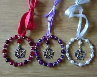 pagan pentagram yule christmas star hanging decoration in red purple white silver ideal yule gift