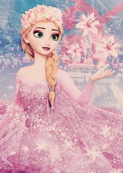 "Elsa crossover ""Let it grow!"" Girl Disney princess pretty flowers pink long hair movie"