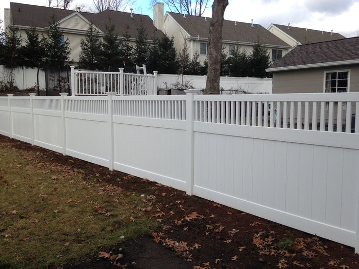 white pvc fence with closed picket accent beautiful installed by bergenfence