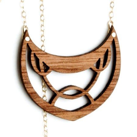 Deco drop Necklace Walnut by OrangeSlice on Etsy