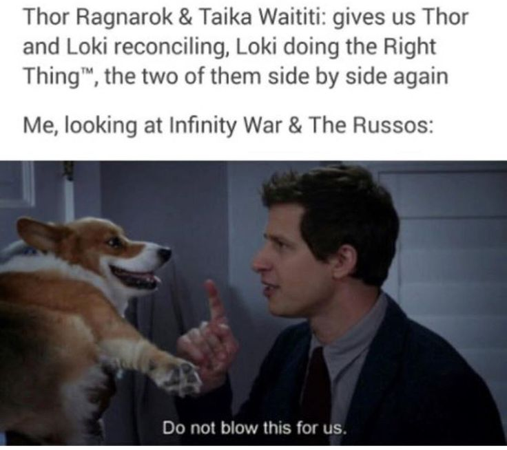 Seriously DO NOT MESS UP Loki and Thor's barely healed relationship and make them sad again!!! If the Russos make Loki sad again I don't know what I'll do. :'(